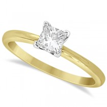 Moissanite Solitaire Engagement Ring Princess Cut 14K Y. Gold 0.50ct
