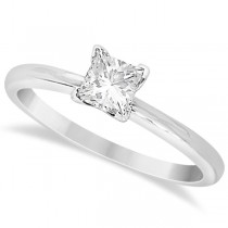 Moissanite Solitaire Engagement Ring Princess 14K White Gold 0.75ct
