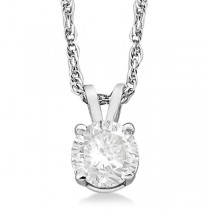 Prong Set Moissanite Solitaire Pendant Necklace 14K White Gold 2.00ct