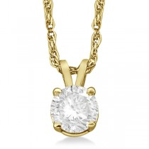 Prong Set Moissanite Solitaire Pendant Necklace 14K Yellow Gold 2.00ct