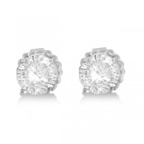 Moissanite Basket Four Prong Earring Studs 14K White Gold 1.00ctw
