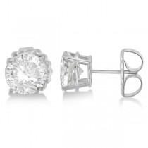 Moissanite Basket Four Prong Earring Studs 14K White Gold 2.00ctw