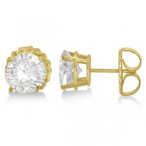 Moissanite Basket Four Prong Earring Studs 14K Yellow Gold 2.00ctw