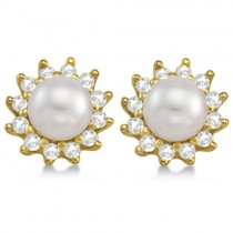 Akoya Cultured Pearl and Diamond Halo Earrings 14K Yellow Gold (6mm)