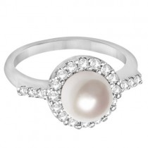 Cultured Freshwater Pearl & Diamond Halo Ring 14K White Gold  (7.50mm)