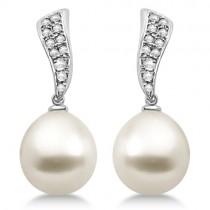South Sea Cultured Pearl & Diamond Drop Earrings 14K White Gold (11mm)