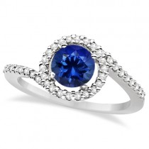 Twist Diamond and Tanzanite Ring 14k White Gold (1.20ct)