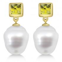 Square Peridot & South Sea Ringed Pearl Earrings 14K Yellow Gold 12mm