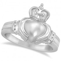 Diamond Claddagh Ring with Cross Irish Band 14K White Gold  (0.05ct)