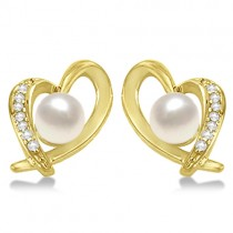 Akoya Cultured Pearl & Diamond Heart Earrings 14K Yellow Gold (7mm)