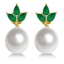 Floral South Sea Pearl and Emerald Earrings 18K Yellow Gold 10mm
