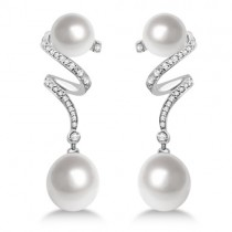 South Sea Cultured Pearl & Diamond Twist Earrings Palladium 10 -12mm