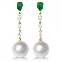 South Sea Pearl, Emerald & Diamond Dangle Earrings 18K Y. Gold 12mm