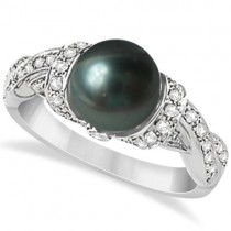Freshwater Cultured Black Pearl & Diamond Ring 14K W. Gold (8mm)