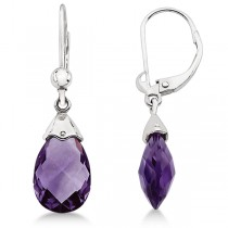 Dangle Lever Back Amethyst Briolette Earrings 14k White Gold (5.70ct)