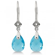 Dangle Diamond & Blue Topaz Briolette Earrings 14k White Gold (4.76ct)