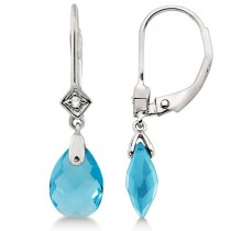 Dangle Diamond & Blue Topaz Briolette Earrings 14k White Gold (4.76ct)|escape