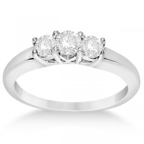 Three Stone Moissanite Engagement Ring 14K White Gold 0.50ctw