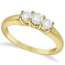 Three Stone Moissanite Engagement Ring 14K Yellow Gold 0.50ctw