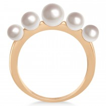 Freshwater Five Stone Pearl Ring 14k Rose Gold (4.0-6.0mm)|escape