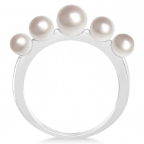 Freshwater Five Stone Pearl Ring 14k White Gold (4.0-6.0mm)|escape