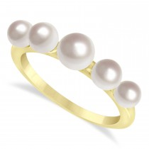Freshwater Five Stone Pearl Ring 14k Yellow Gold (4.0-6.0mm)