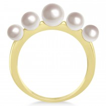 Freshwater Five Stone Pearl Ring 14k Yellow Gold (4.0-6.0mm)|escape