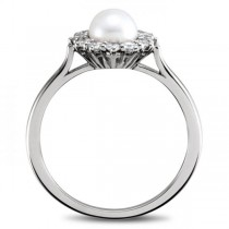 Freshwater Pearl & Diamond Halo Ring 14k White Gold 5.50-6mm 0.33ct|escape