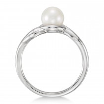 Freeform Cultured Freshwater Pearl Ring 14k White Gold