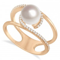 Negative Space Freshwater Pearl & Diamond Ring 14k Rose Gold (7.5-8.0mm)