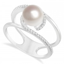Negative Space Freshwater Pearl & Diamond Ring 14k White Gold (7.5-8.0mm)
