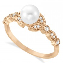 Freshwater Pearl & Diamond Leaf Ring 14k Rose Gold (6.0-6.5mm)