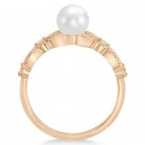 Freshwater Pearl & Diamond Leaf Ring 14k Rose Gold (6.0-6.5mm)