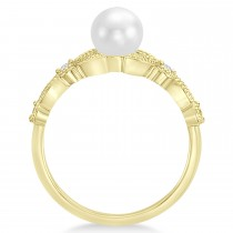 Freshwater Pearl & Diamond Leaf Ring 14k Yellow Gold (6.0-6.5mm)|escape