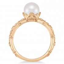 Vintage-Inspired Freshwater Pearl & Diamond Ring 14k Rose Gold (7.0-7.5mm)|escape