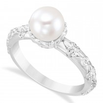 Vintage-Inspired Freshwater Pearl & Diamond Ring 14k White Gold (7.0-7.5mm)