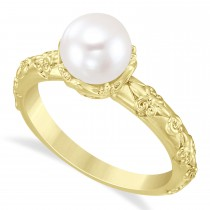 Vintage-Inspired Freshwater Pearl & Diamond Ring 14k Yellow Gold (7.0-7.5mm)