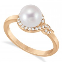 Freshwater Pearl & Diamond Bypass Ring 14k Rose Gold (7.0-7.5mm)