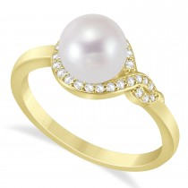 Freshwater Pearl & Diamond Bypass Ring 14k Yellow Gold (7.0-7.5mm)
