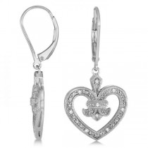 Diamond Fleur De Lis in Heart Earrings Sterling Silver 0.10ctw
