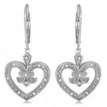 Diamond Fleur De Lis in Heart Earrings Sterling Silver 0.10ctw|escape