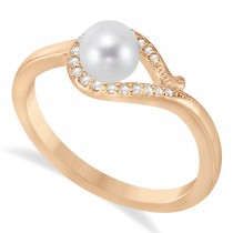 Bypass Freshwater Pearl & Diamond Ring 14k Rose Gold (5.0-5.5mm)