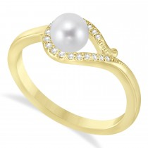 Bypass Freshwater Pearl & Diamond Ring 14k Yellow Gold (5.0-5.5mm)