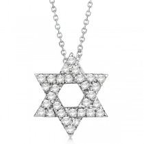 Diamond Jewish Star of David Pendant Necklace 14k White Gold 0.17ct