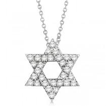 Diamond Jewish Star of David Pendant Necklace 14k White Gold 0.17ct