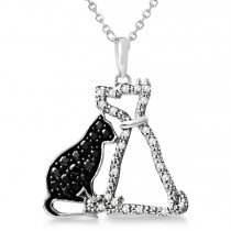 White and Black Diamond Dog & Cat Necklace Sterling Silver 0.25ct