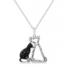 White and Black Diamond Dog & Cat Necklace Sterling Silver 0.26ct|escape