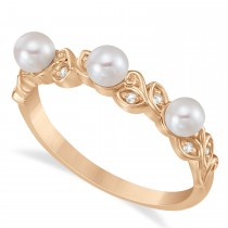 Pearl & Diamond Leaf Pattern Stackable Ring 14k Rose Gold (3.50 mm)