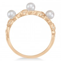 Pearl & Diamond Leaf Pattern Stackable Ring 14k Rose Gold (3.50 mm)|escape