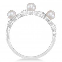 Pearl & Diamond Leaf Pattern Stackable Ring 14k White Gold (3.50 mm)|escape
